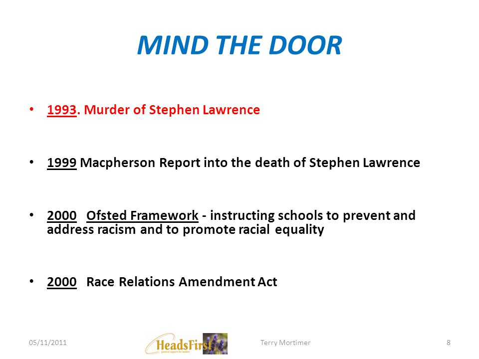 MIND THE DOOR 1993. Murder of Stephen Lawrence 1999 Macpherson Report into the death of Stephen Lawrence 2000 Ofsted Framework - instructing schools t