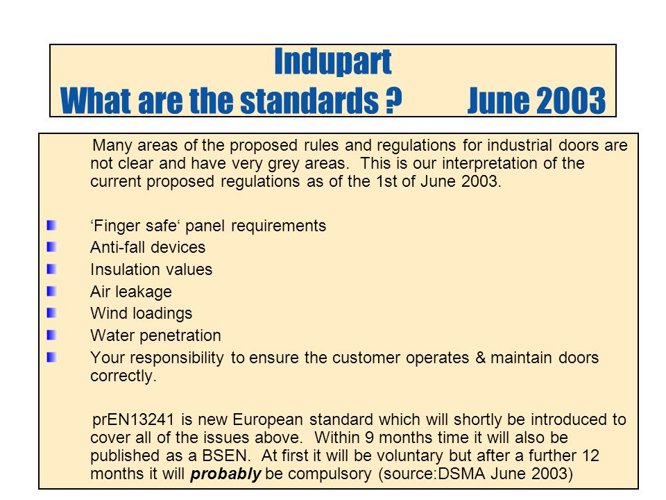 Indupart What are the standards .