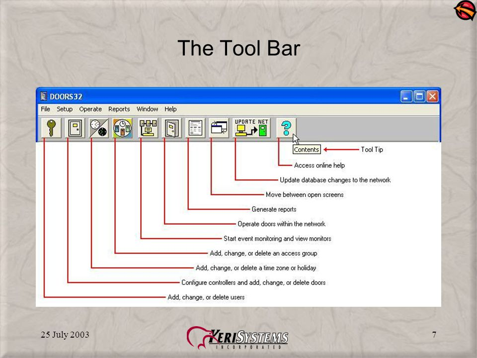 25 July 20037 The Tool Bar