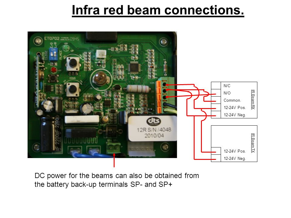 IR Beam RX IR Beam TX 12-24V Neg. 12-24V Pos. Common. N/O N/C DC power for the beams can also be obtained from the battery back-up terminals SP- and S
