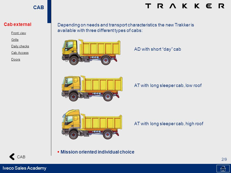 CAB 2/9 Iveco Sales Academy Depending on needs and transport characteristics the new Trakker is available with three different types of cabs: AD with short day cab AT with long sleeper cab, low roof AT with long sleeper cab, high roof Mission oriented individual choice Cab external Front view Grille Daily checks Cab Access Doors