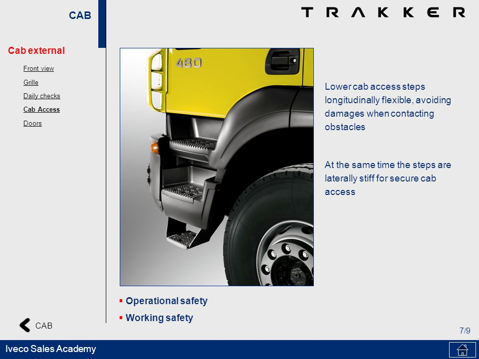 CAB 7/9 Iveco Sales Academy Lower cab access steps longitudinally flexible, avoiding damages when contacting obstacles At the same time the steps are laterally stiff for secure cab access Operational safety Working safety Cab external Front view Grille Daily checks Cab Access Doors