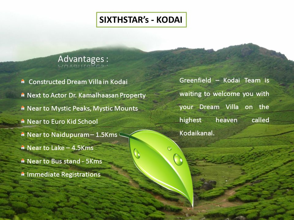 SIXTHSTARs - KODAI Constructed Dream Villa in Kodai Next to Actor Dr.