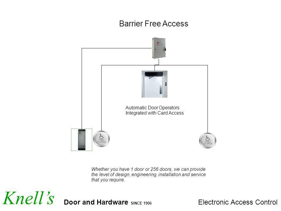 Knells Door and Hardware SINCE 1906 Electronic Access Control Barrier Free Access Automatic Door Operators Integrated with Card Access Whether you have 1 door or 256 doors, we can provide the level of design, engineering, installation and service that you require.