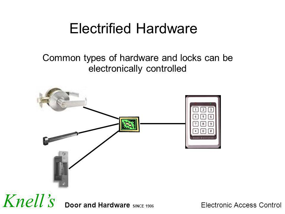 Knells Door and Hardware SINCE 1906 Electronic Access Control Electrified Hardware Common types of hardware and locks can be electronically controlled