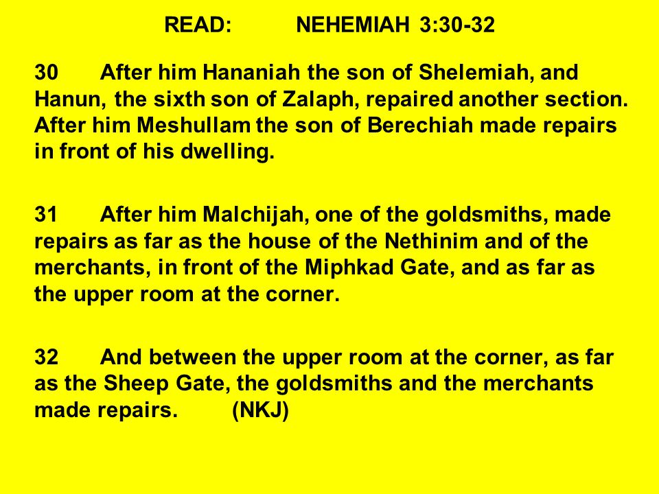 READ:NEHEMIAH 3:30-32 30After him Hananiah the son of Shelemiah, and Hanun, the sixth son of Zalaph, repaired another section.