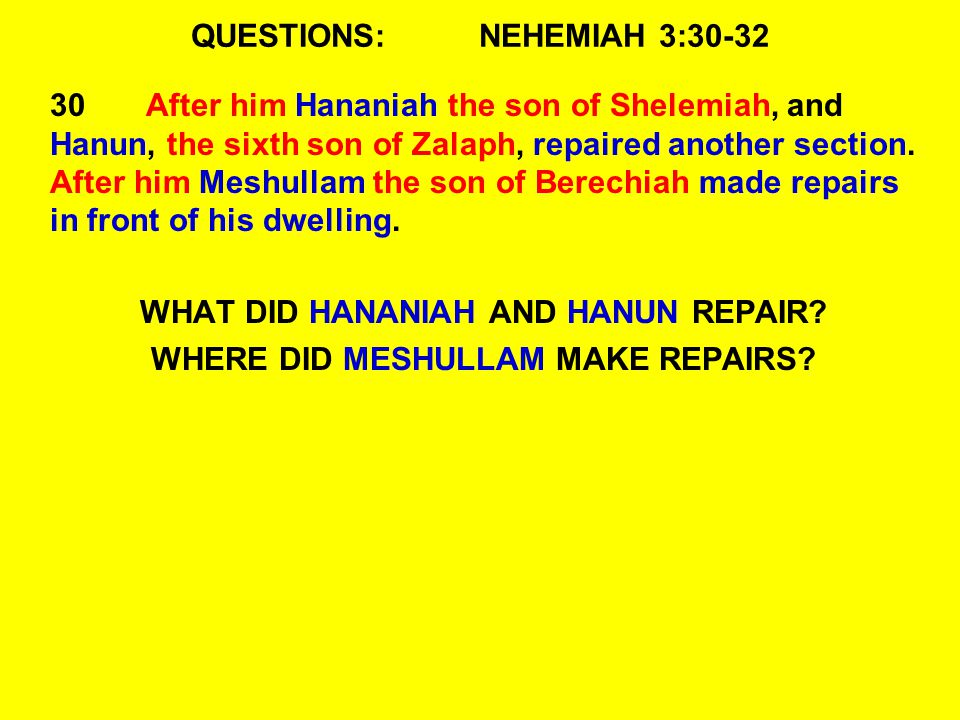 QUESTIONS:NEHEMIAH 3:30-32 30After him Hananiah the son of Shelemiah, and Hanun, the sixth son of Zalaph, repaired another section.