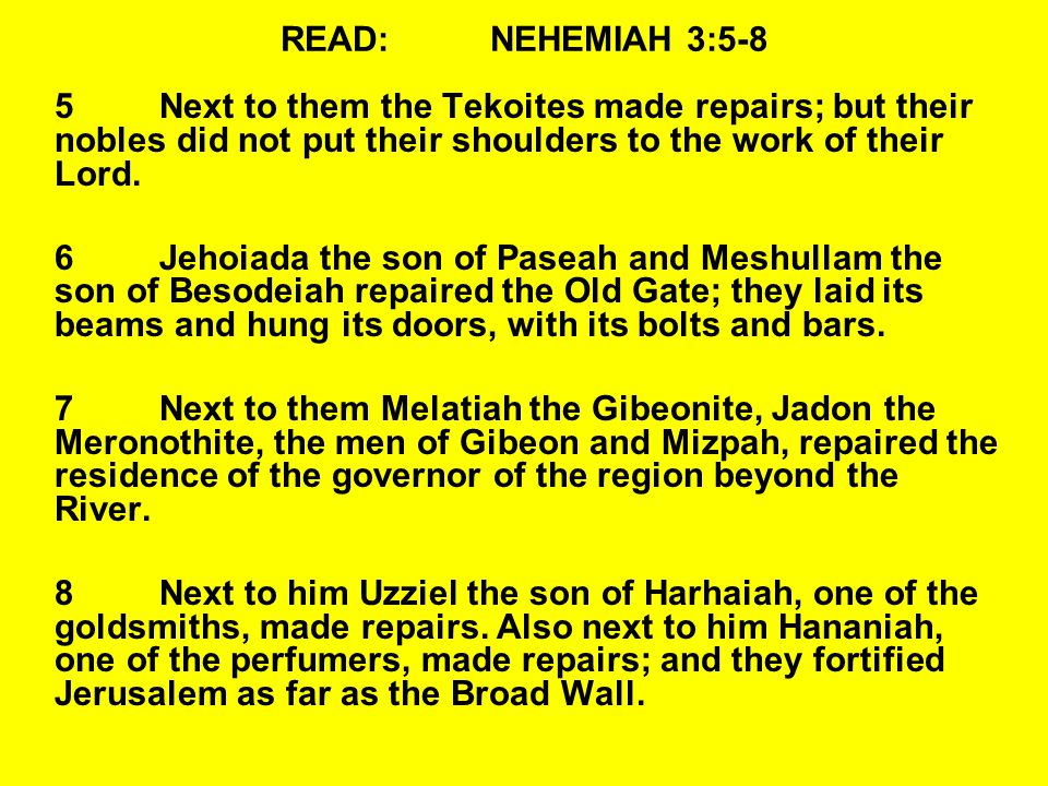 READ:NEHEMIAH 3:5-8 5Next to them the Tekoites made repairs; but their nobles did not put their shoulders to the work of their Lord.