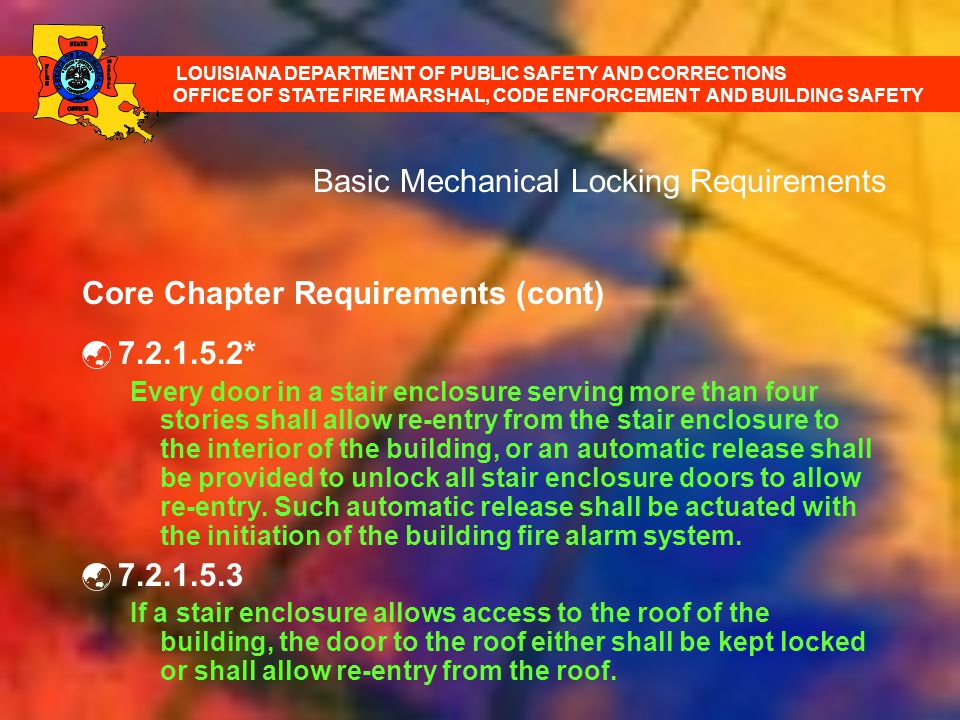 Basic Mechanical Locking Requirements Core Chapter Requirements (cont) 7.2.1.5.2* Every door in a stair enclosure serving more than four stories shall