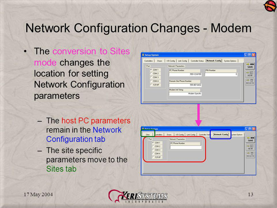 17 May 200413 Network Configuration Changes - Modem The conversion to Sites mode changes the location for setting Network Configuration parameters –The host PC parameters remain in the Network Configuration tab –The site specific parameters move to the Sites tab