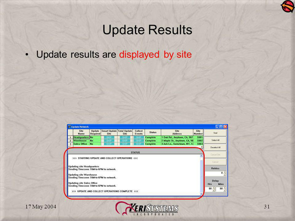 17 May 200431 Update Results Update results are displayed by site