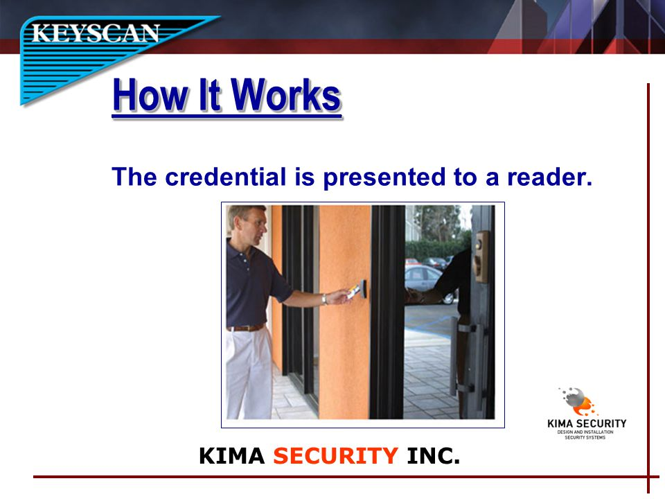 The credential is presented to a reader. How It Works KIMA SECURITY INC.