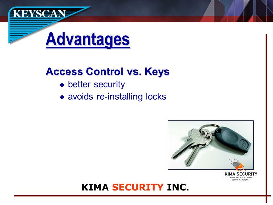 Access Control vs. Keys u better security u avoids re-installing locks Advantages KIMA SECURITY INC.
