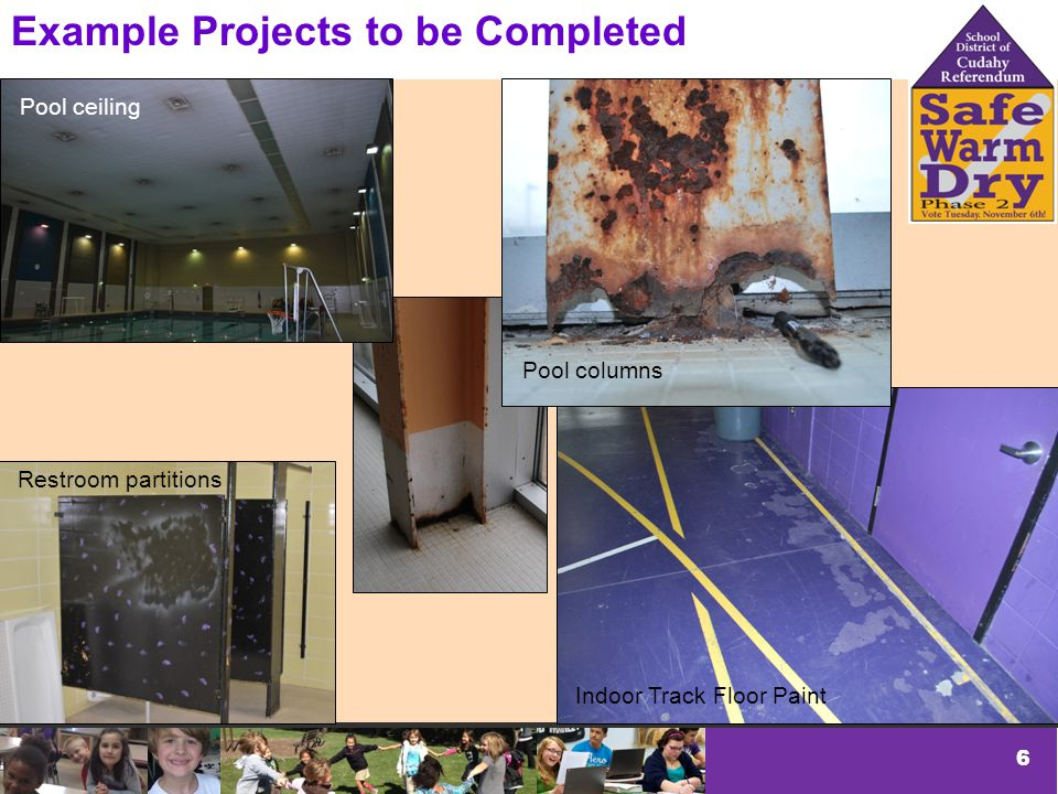 6 Example Projects to be Completed Pool ceiling Pool columns Indoor Track Floor Paint Restroom partitions