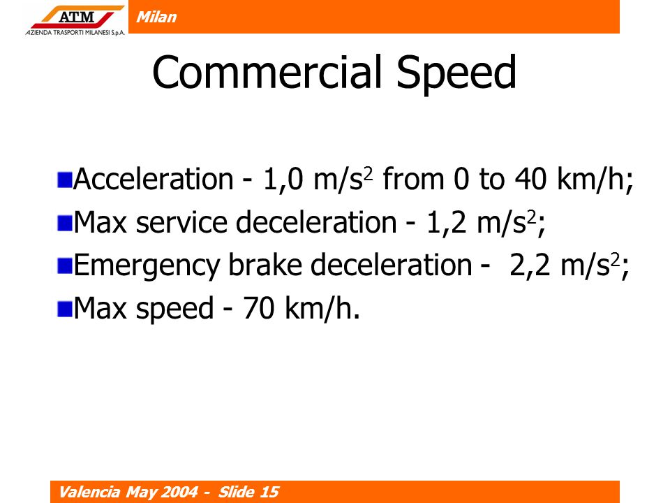 Milan Valencia May 2004 - Slide 15 Commercial Speed Acceleration - 1,0 m/s 2 from 0 to 40 km/h; Max service deceleration - 1,2 m/s 2 ; Emergency brake deceleration - 2,2 m/s 2 ; Max speed - 70 km/h.