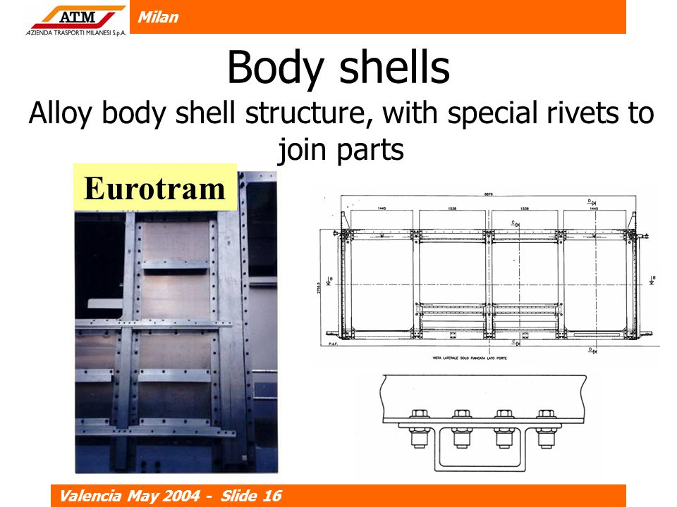 Milan Valencia May 2004 - Slide 16 Body shells Alloy body shell structure, with special rivets to join parts Eurotram