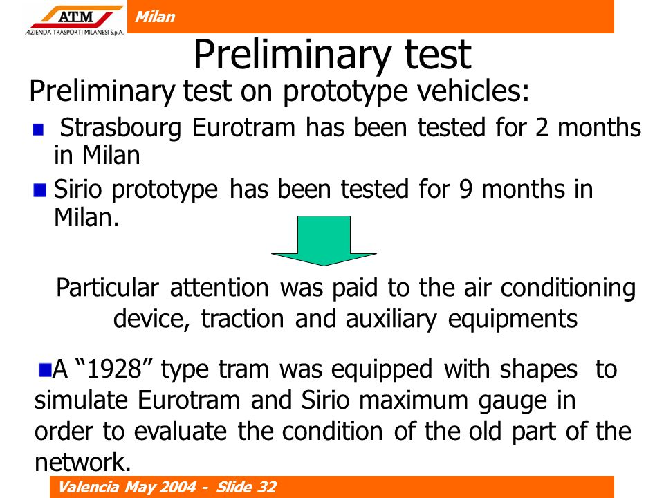 Milan Valencia May 2004 - Slide 32 Preliminary test Preliminary test on prototype vehicles: Strasbourg Eurotram has been tested for 2 months in Milan Sirio prototype has been tested for 9 months in Milan.