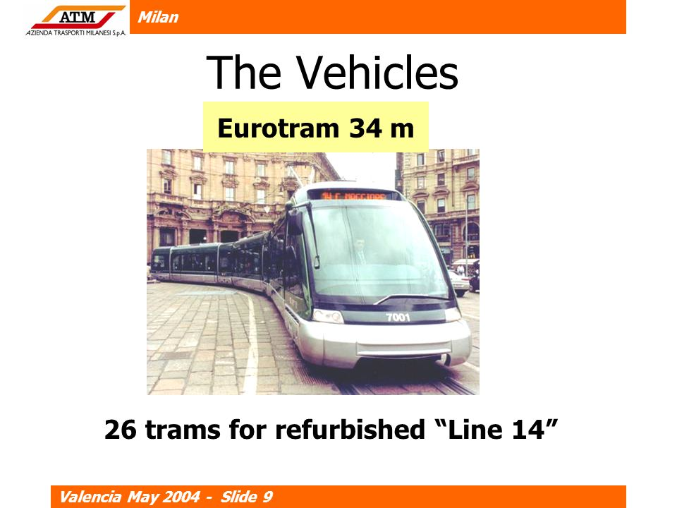 Milan Valencia May 2004 - Slide 9 The Vehicles Eurotram 34 m 26 trams for refurbished Line 14