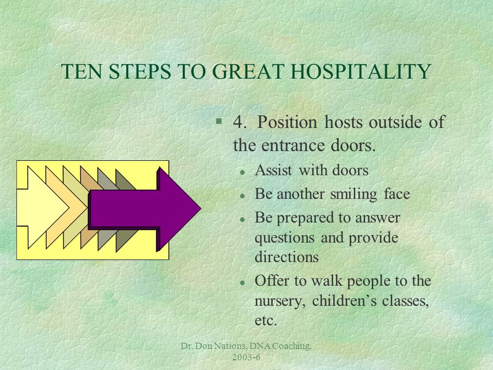 Dr. Don Nations, DNA Coaching, 2003-6 TEN STEPS TO GREAT HOSPITALITY §4. Position hosts outside of the entrance doors. l Assist with doors l Be anothe