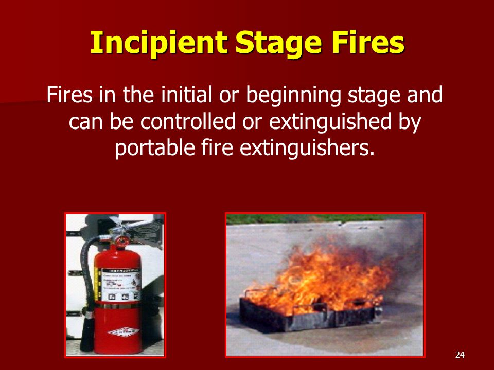 24 Incipient Stage Fires Fires in the initial or beginning stage and can be controlled or extinguished by portable fire extinguishers.