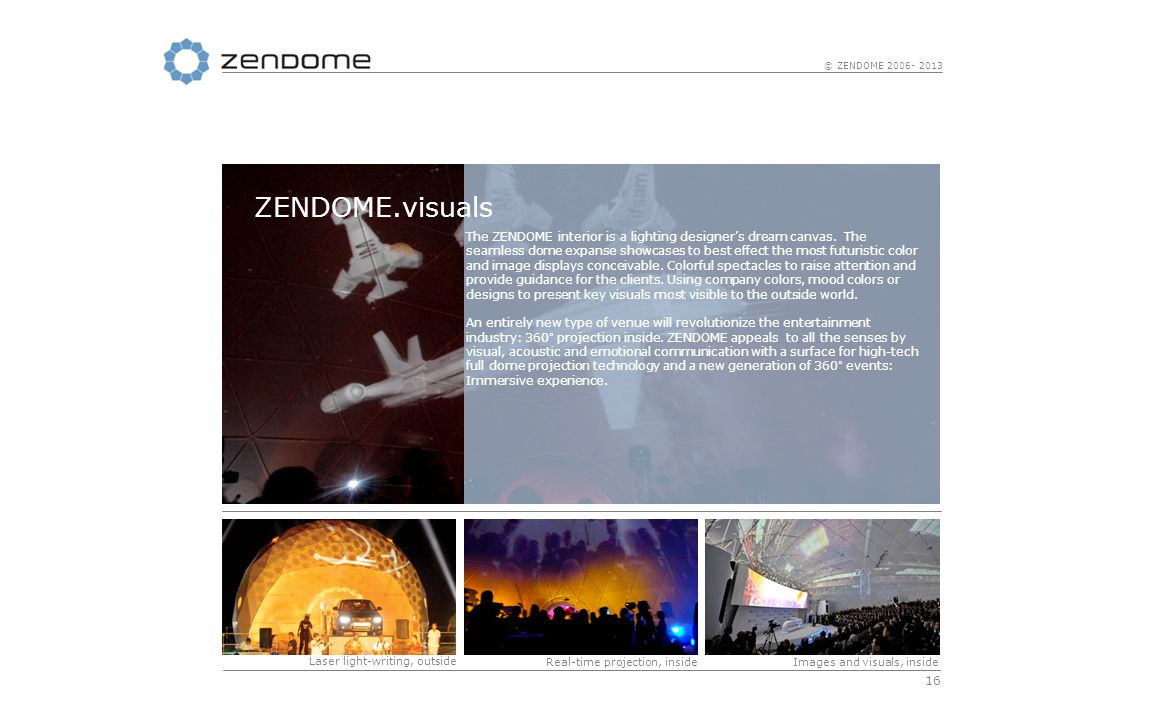 16 © ZENDOME 2006- 2013 The ZENDOME interior is a lighting designers dream canvas.