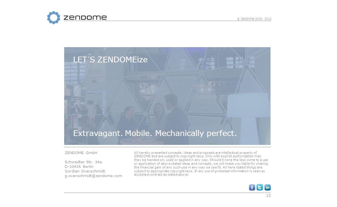 25 © ZENDOME 2006- 2013 ZENDOME GmbH Schwedter Str. 34a D-10435 Berlin Gordian Overschmidt g.overschmidt@zendome.com All hereby presented concepts, id