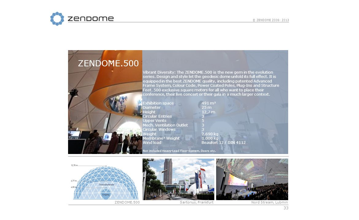 33 © ZENDOME 2006- 2013 ZENDOME.500 Nord Stream, LubminSartorius, Frankfurt Vibrant Diversity: The ZENDOME.500 is the new gem in the evolution series.