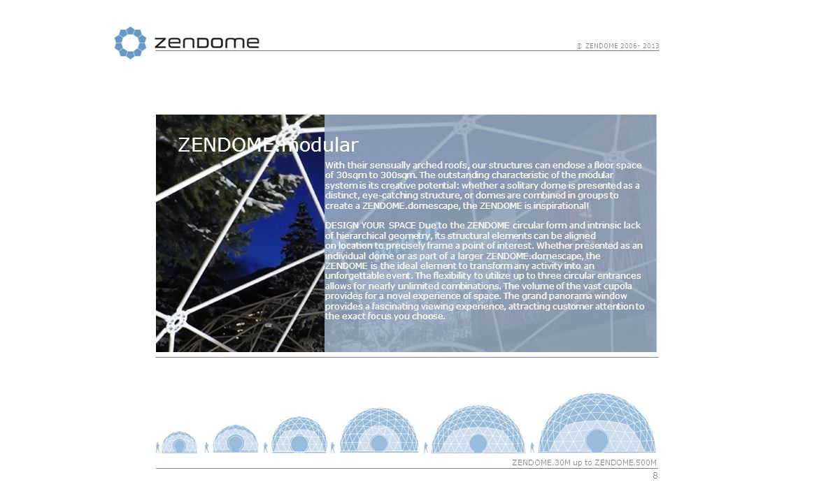 19 © ZENDOME 2006- 2013 ZENDOME.membrane Because we not only care about publicity effective design but also about resilience and safety, we only use quality membranes by our partner Ferrari for the ZENDOME outer shell.