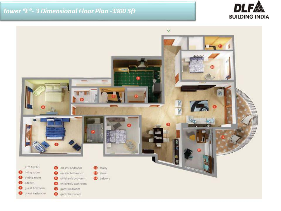 Tower E- 3 Dimensional Floor Plan -3300 Sft