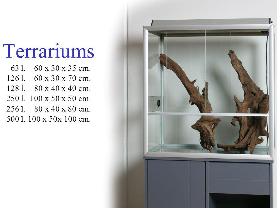 Terrariums 63 l.60 x 30 x 35 cm. 126 l. 60 x 30 x 70 cm.