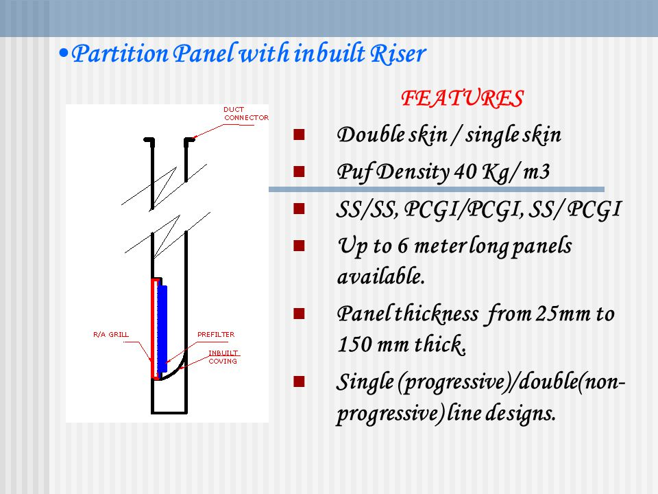 CLEAN ROOM PARTITION PANELS Partition Panels With Features Double (single) skin sandwich panels. FEATURES 1. Double skin / single skin 2. Puf Density