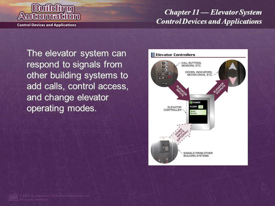 Chapter 11 Elevator System Control Devices and Applications When the elevator car is in the correct position, the door operating system unlocks and pu