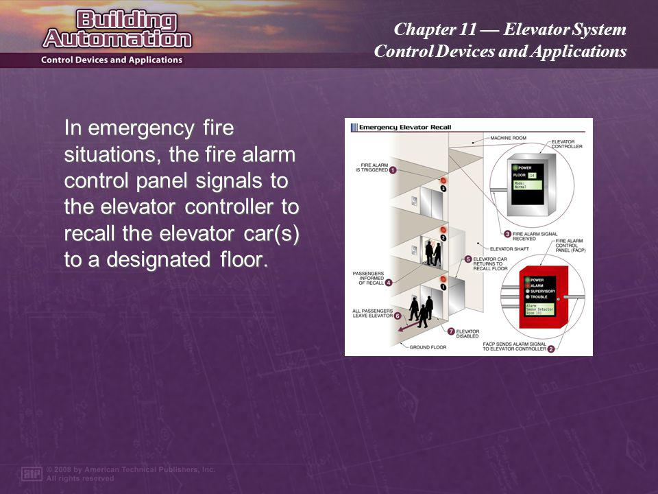 Chapter 11 Elevator System Control Devices and Applications Telephones or similar two-way communication devices are installed inside elevator cars for