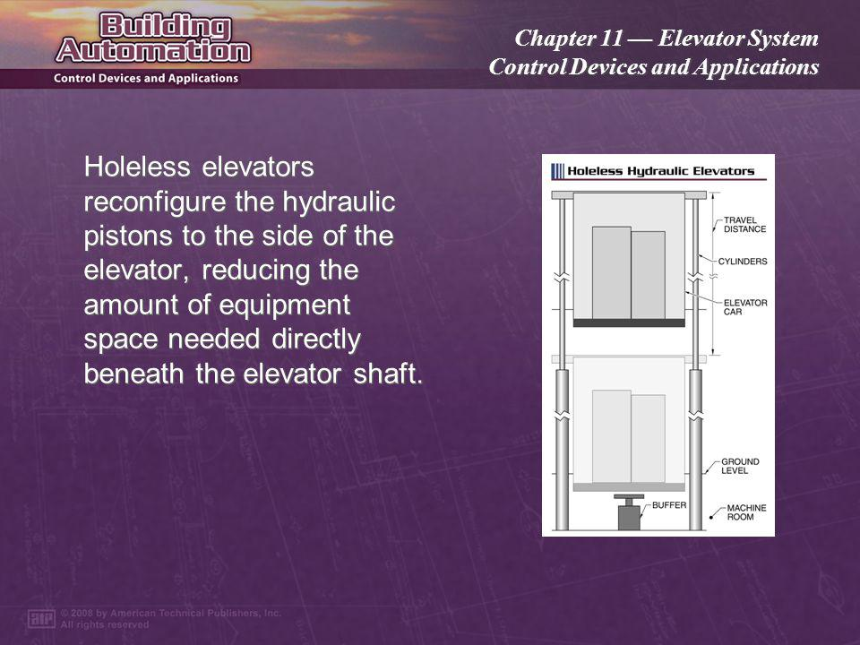 Chapter 11 Elevator System Control Devices and Applications Hydraulic elevators are raised and lowered by pistons filled with fluid.