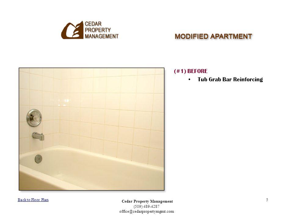 Cedar Property Management (509) 489-4287 office@cedarpropertymgmt.com 5 (#1) BEFORE Tub Grab Bar Reinforcing Back to Floor Plan