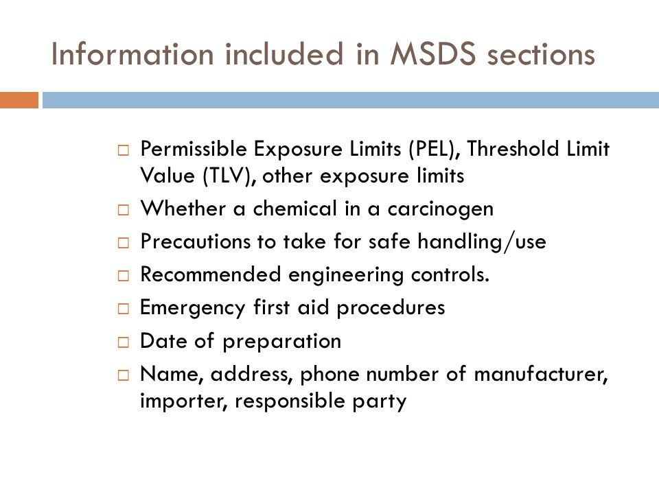 MSDS Requirements 1.