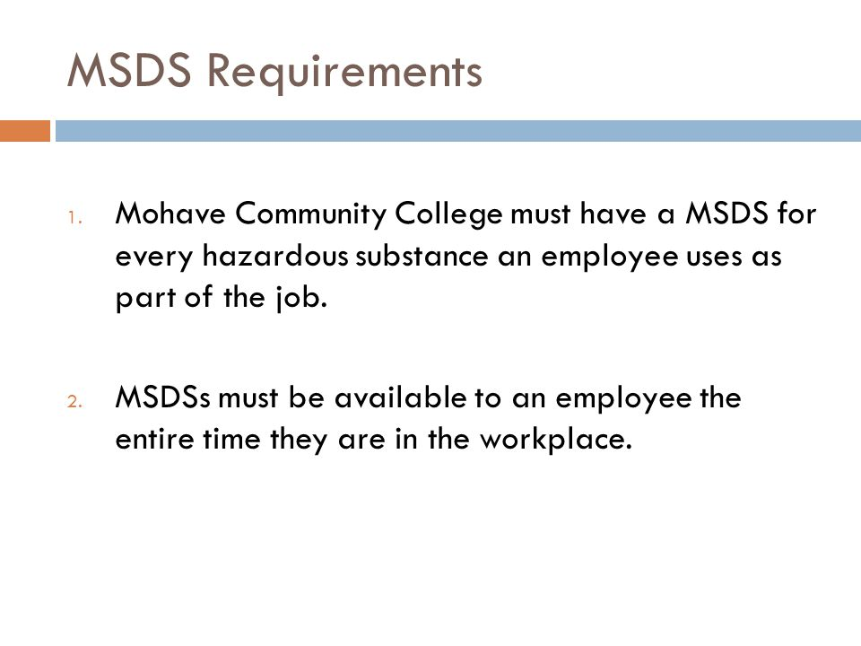 MSDS Requirements 3.