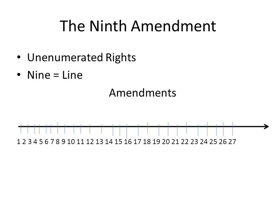 The Ninth Amendment Unenumerated Rights Nine = Line Amendments 1 2 3 4 5 6 7 8 9 10 11 12 13 14 15 16 17 18 19 20 21 22 23 24 25 26 27