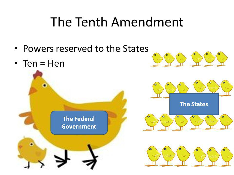 The Tenth Amendment Powers reserved to the States Ten = Hen The Federal Government The States