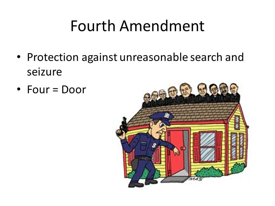 Fourth Amendment Protection against unreasonable search and seizure Four = Door