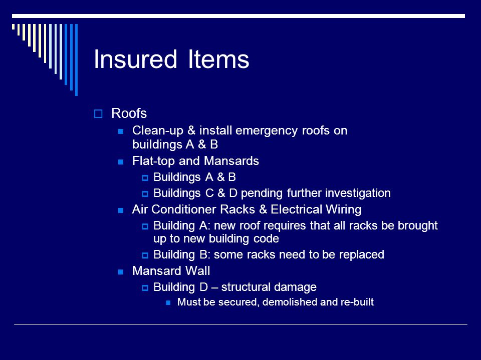 Insured Items – Page 2 Roofs: Estimated costs to date: $ 587,285 Excludes engineering costs that will be billed as work progresses