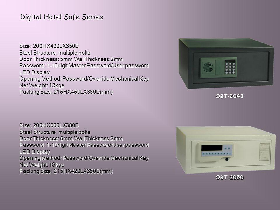 Digital Hotel Safe Series Size: 200HX430LX350D Steel Structure, multiple bolts Door Thickness: 5mm,WallThickness:2mm Password: 1-10digit Master Passwo