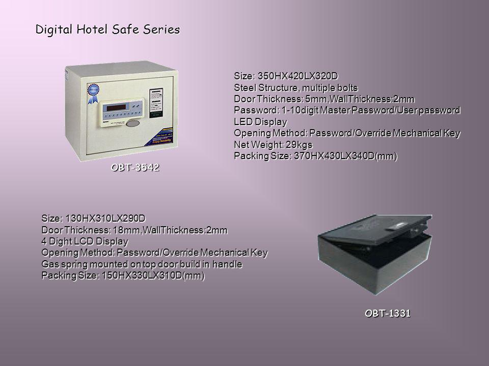 Digital Hotel Safe Series Size: 350HX420LX320D Steel Structure, multiple bolts Door Thickness: 5mm,WallThickness:2mm Password: 1-10digit Master Passwo