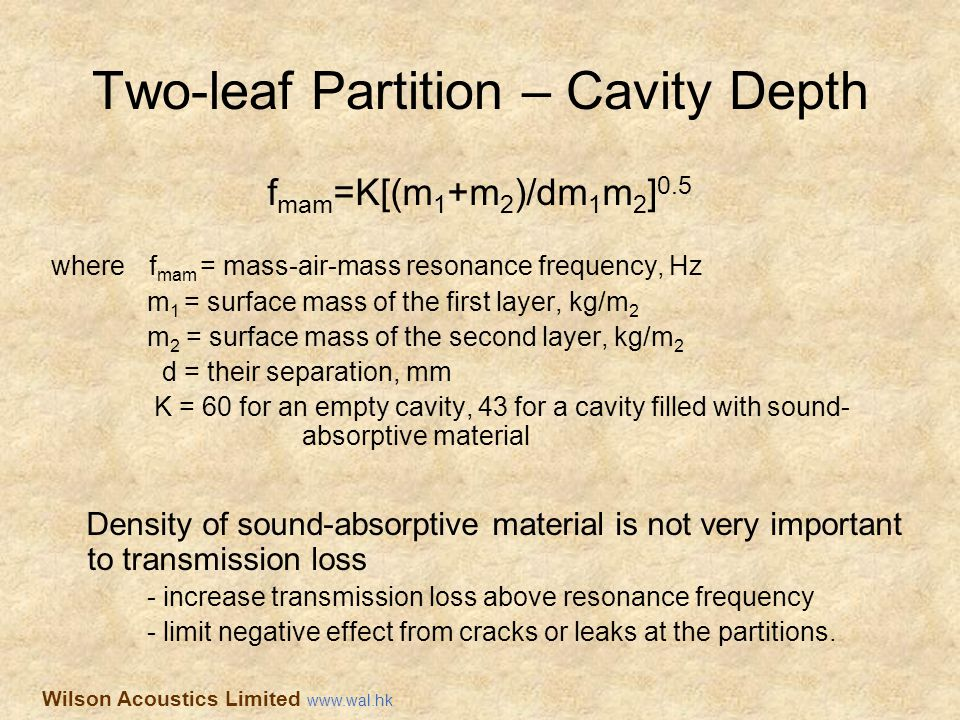 Two-leaf Partition – Cavity Depth f mam =K[(m 1 +m 2 )/dm 1 m 2 ] 0.5 where f mam = mass-air-mass resonance frequency, Hz m 1 = surface mass of the fi