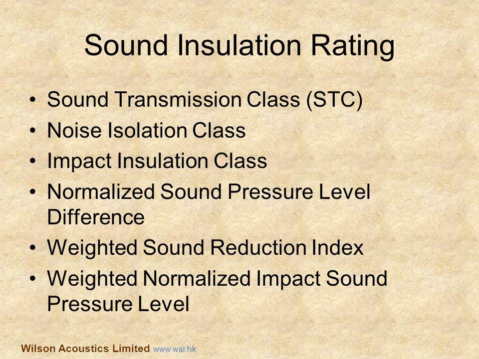 Sound Insulation Rating Sound Transmission Class (STC) Noise Isolation Class Impact Insulation Class Normalized Sound Pressure Level Difference Weight