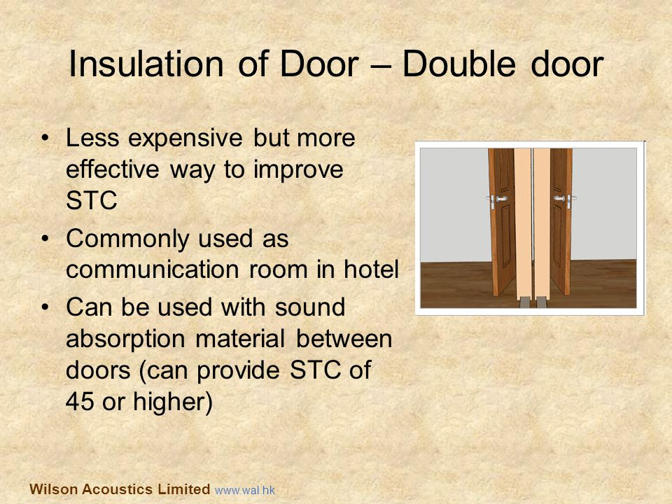 Insulation of Door – Double door Less expensive but more effective way to improve STC Commonly used as communication room in hotel Can be used with so