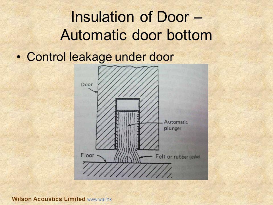 Insulation of Door – Automatic door bottom Control leakage under door Wilson Acoustics Limited www.wal.hk