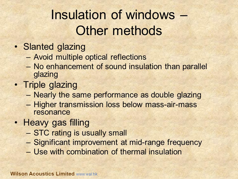 Insulation of windows – Other methods Slanted glazing –Avoid multiple optical reflections –No enhancement of sound insulation than parallel glazing Tr