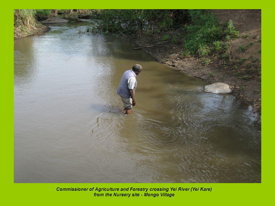 Commissioner of Agriculture and Forestry crossing Yei River (Yei Kare) from the Nursery site - Mongo Village
