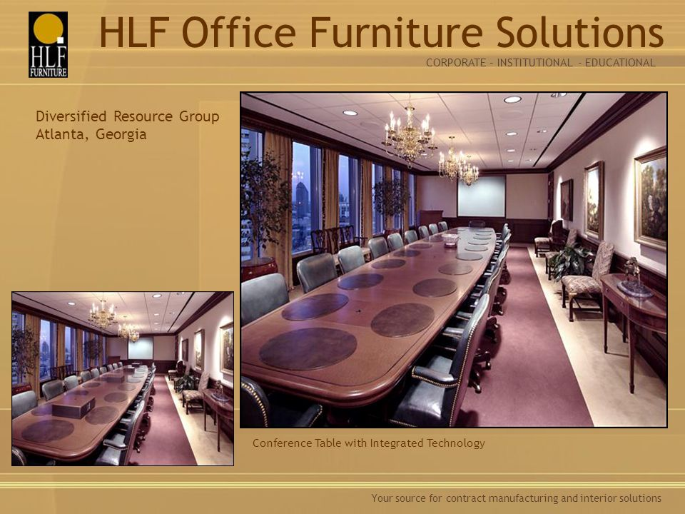 Your source for contract manufacturing and interior solutions Conference Table with Integrated Technology Diversified Resource Group Atlanta, Georgia